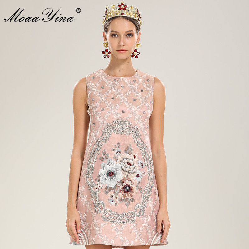 Vintage Imprimer Perles Robes Rose Piste Élégant Manches Sans Fleur OvmNy8n0w