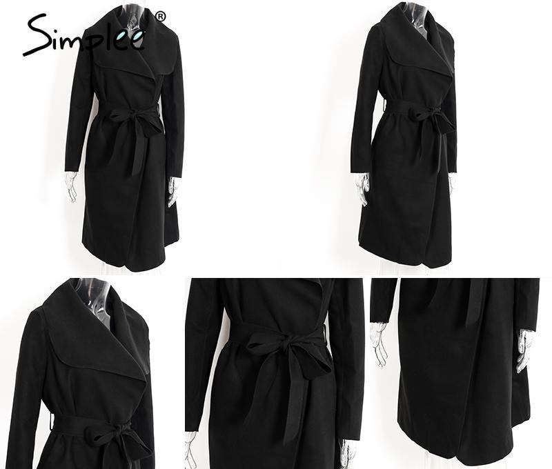 Simplee Black ruffle warm winter coat Women turndown long coat collar overcoat female Casual autumn 16 pink outerwear 20