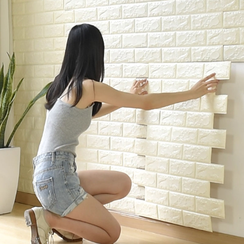 70x77cm 3D Stone Brick PE Foam Wallpaper Posters Wall Stickers Safety Wall Decor Living Room Kitchen Home Improvement Decoration