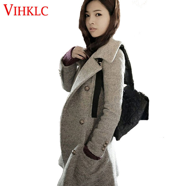 Korea mantel panjang mantel musim dingin wanita jaket wanita mantel Blends  wol hangat femininos plus ukuran da0a4d5945