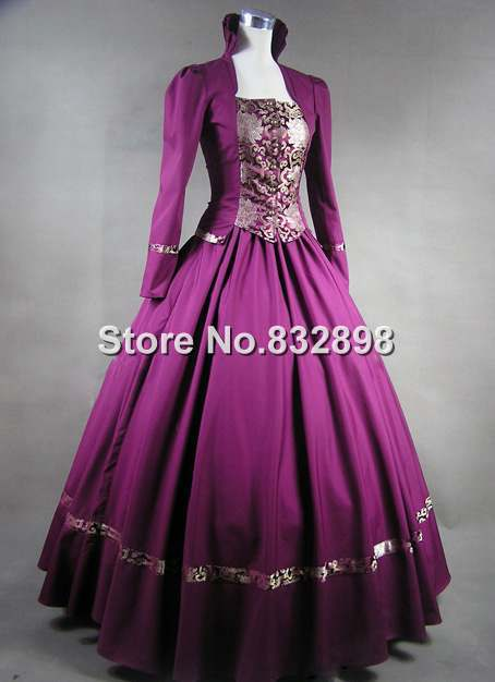 Purple Gothic Victorian Brocade Dress Ball Gown