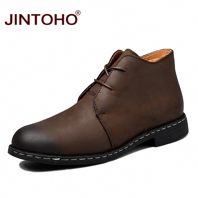 JINTOHO Fashion Genuine Leather Men Boots Winter Men Genuine Leather Shoes Lace Up Ankle Leather Boots