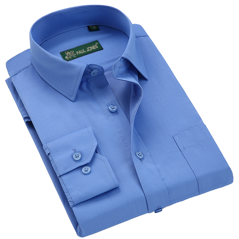 PAULJONES High Quality Classic Long Sleeve Dress Shirts Men Business Formal Shirt Male Casual Social Shirt Office Working Wear