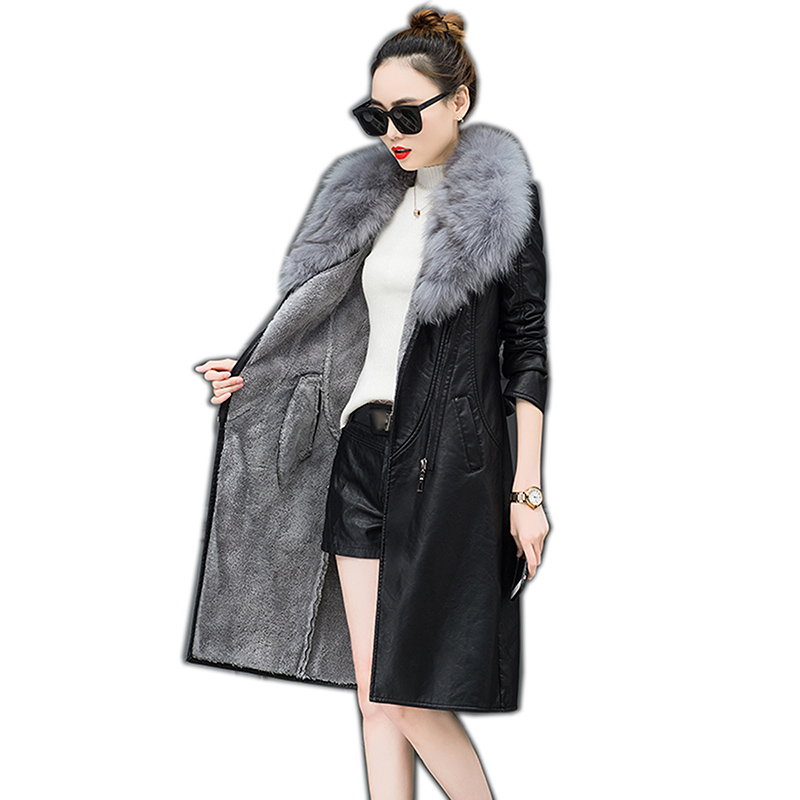 2019 Autumn And Winter Women Medium-Long Clothing Scrub Water Washed   Leather   Coat Large Fur Collar Slim   Leather   Outerwear