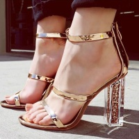 Womens Gladiator Sandals PVC Clear Transparent Strappy Ankle Strap Crystal Block High Heel Wedding Party Shoes
