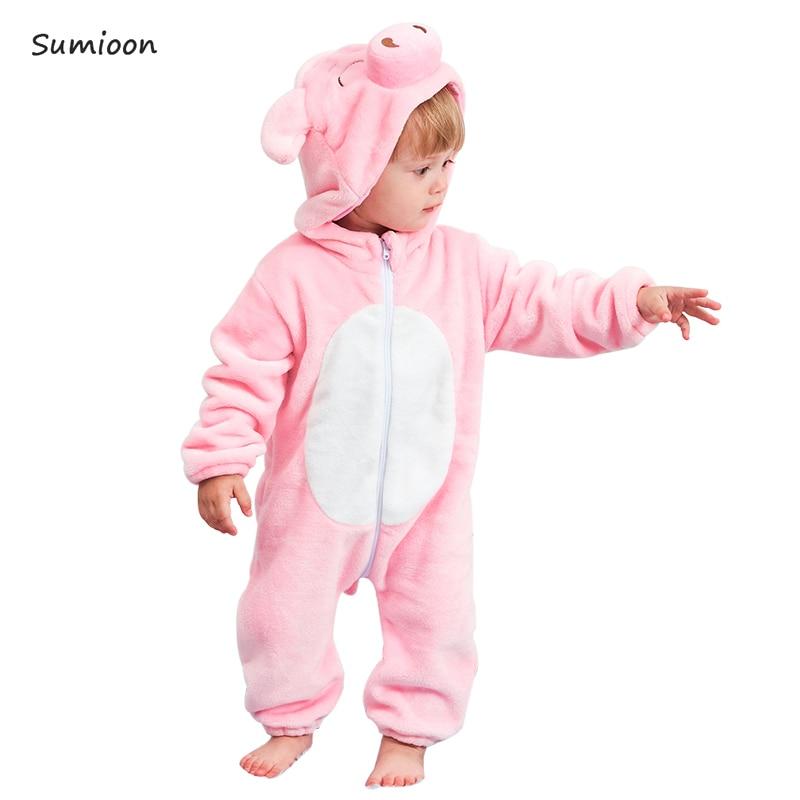 Baby-spielanzug Jungen Mädchen Kleidung Neue Geboren Baby Kostüm Overall Onesie Winter Tier Schwein Pyjamas Roupas De Bebe Recém Nascido