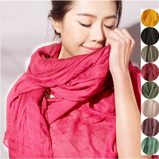 2016 autumn/winter new Women pure Color retro simple Mori girl original cotton and linen scarves shawls Wraps Brief Casual Long