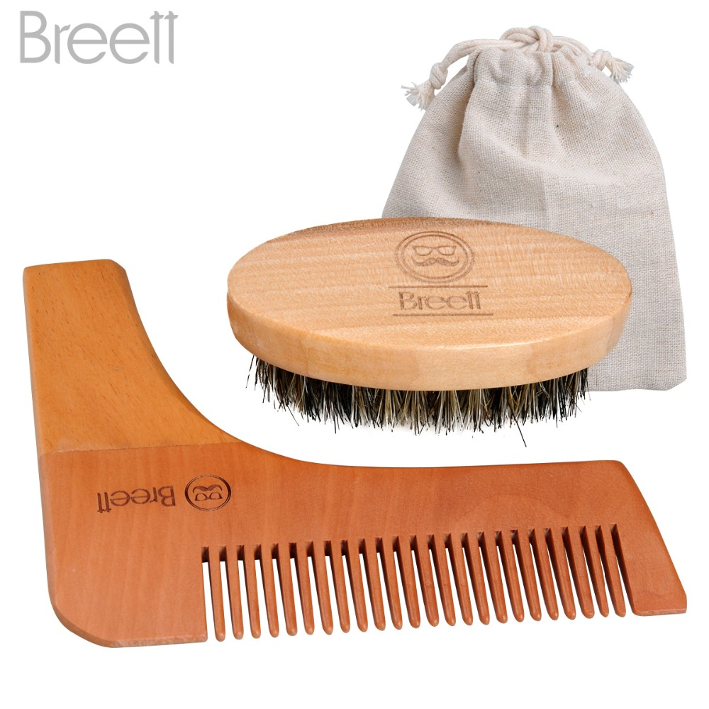 Beard Comb Kit for Men Beard & Mustache Bristles Beard Brush & Pure Natural Schima Wood Comb Beard Stylish Tool Set underwire two piece flounce corset dress