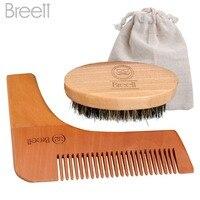 Beard Comb Kit For Men Beard Mustache Bristles Beard Brush Pure Natural Schima Wood Comb Beard