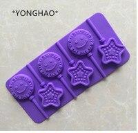 YONGHAO Silicone Lollipop Mold DIY Handmade Bang Bang Mold Star Sun cute cake mold A1123