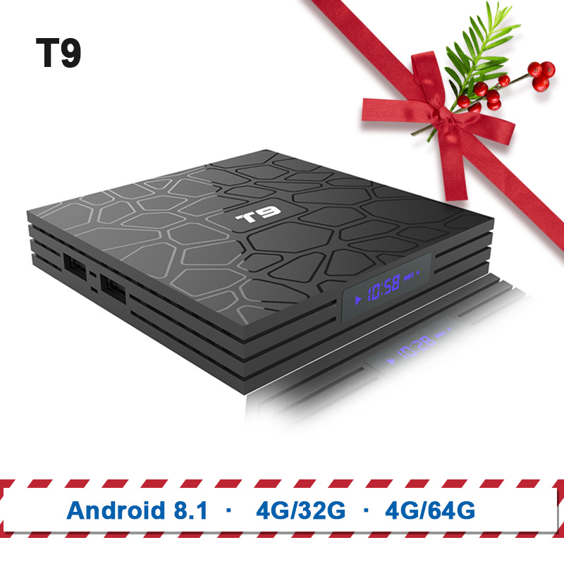 Caja de TV T9 Android 8,1 Bluetooth Rockchip RK3328 4 GB de RAM 32 GB/64 GB 4 K Google Player apoyo 2,4 GHz WiFi HD 4 K Smart Set top box