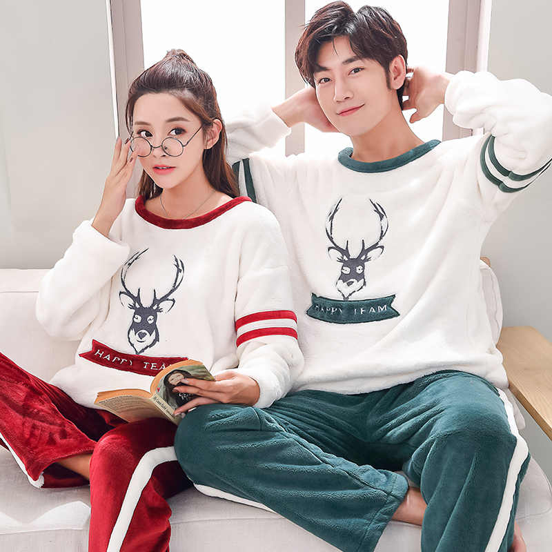 Matching Couple Keep Warm Pajama Set Men s Clothing Winter Flannel Thicken  Warm Sleepwear Suit Casual Female 41dea4c7f