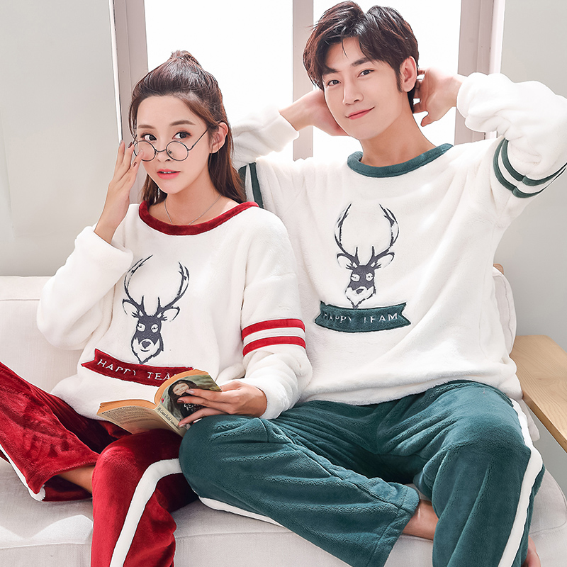 Matching Couple Keep Warm Pajama Set Men s Clothing Winter Flannel Thicken  Warm Sleepwear Suit Casual Female Winter Homewear -in Pajama Sets from  Underwear ... 83c78fc45