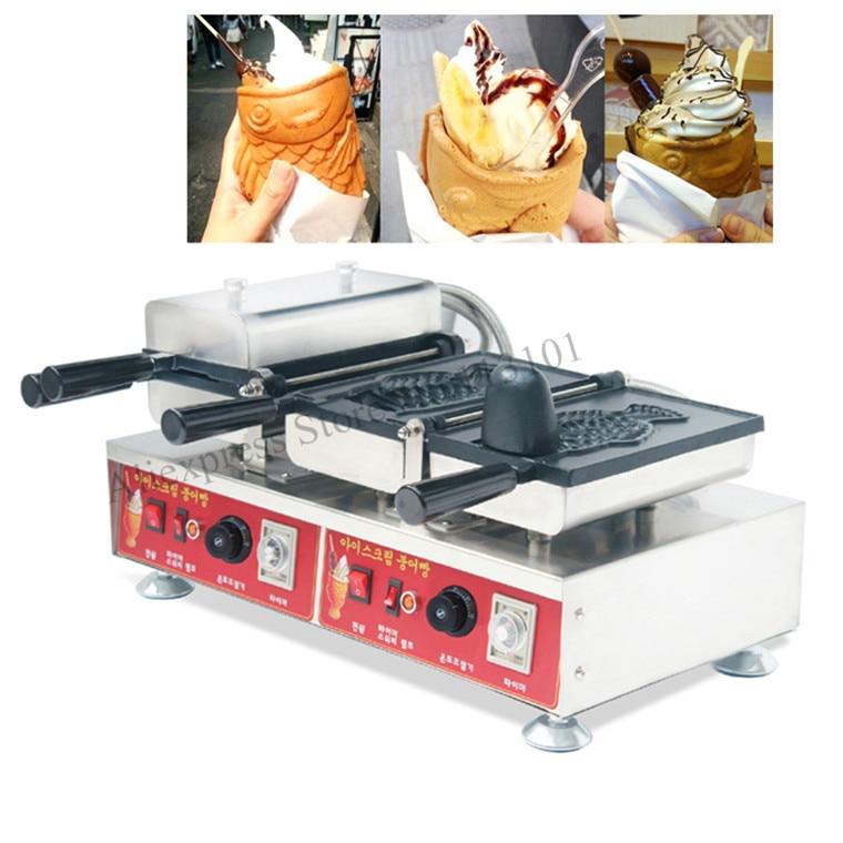 Commercial icecream taiyaki <font><b>maker</b></font> machine double heads Korean style fish <font><b>ice</b></font> cream cone waffle <font><b>maker</b></font> stainless steel 220V