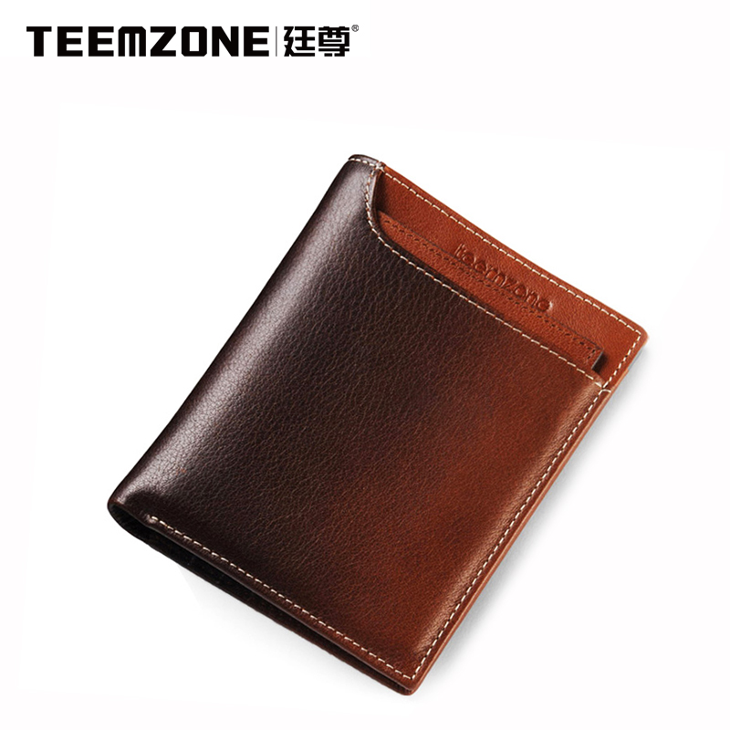 Teemzone Fashion Men Short Wallet Genuine Leather Brand Large Capacity Purse Credit Card Wallet Mens Wallet Free Shipping  padieoe brand 2017 new men wallet genuine leather cowhide purse credit card wallet large capacity men s wallet free shipping