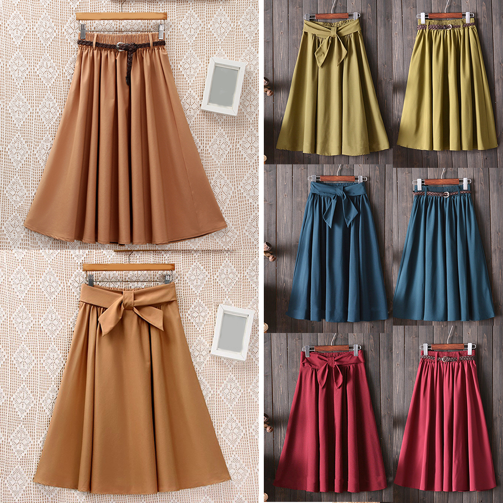 Summer Midi Skirts Women Elegant High Waist Pleated A line School Skirts Big Bow Knit Belts Fashion Solid Color Skirt Red Black in Skirts from Women 39 s Clothing
