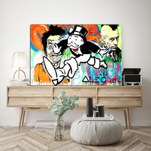 Running Monopolyingly Street Graffiti Canvas Painting Wall Art Poster And Print Decorative Living Room Picture Modern Home Decor