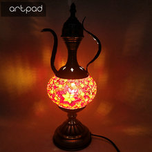Artpad Mediterranean Fixtures Turkish Mosaic Table Lamp Teapot Design Vintage LED Bedroom Decorative Lamps For Restaurant