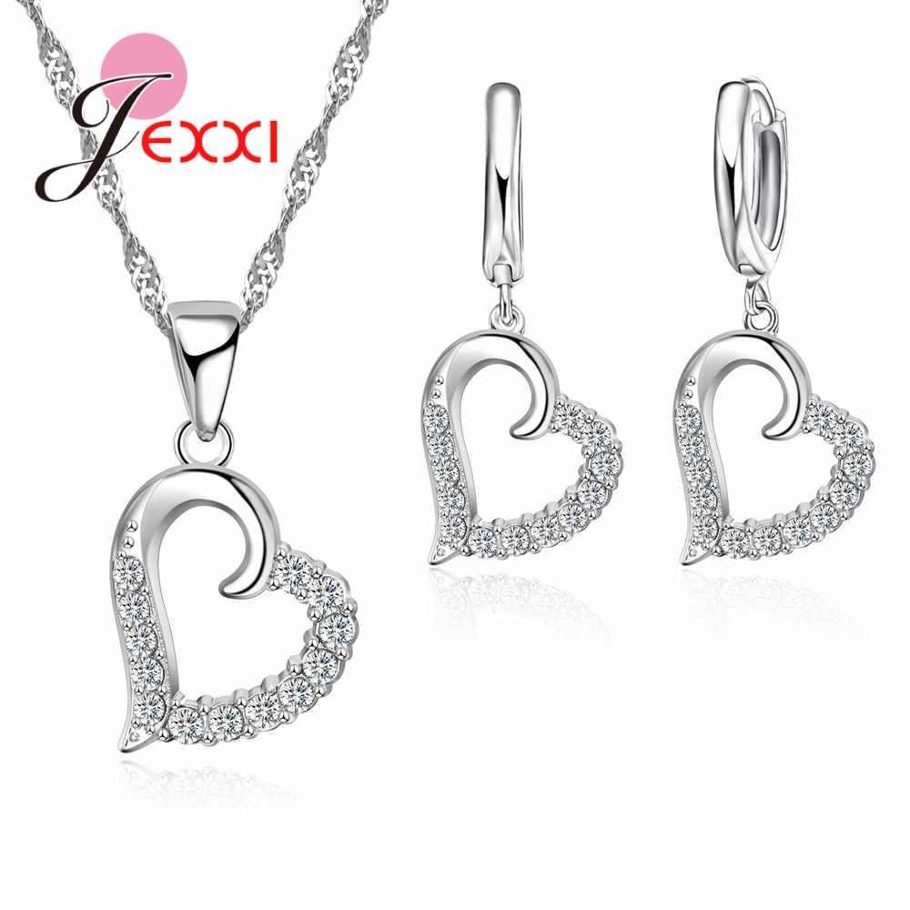 Juegos de joyas de circonita cúbica de compromiso romántico para mujer, trajes de fiesta romántica, pendiente de Collar de corazón de amor, joyería africana