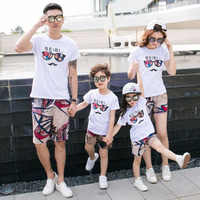 Family Matching Clothes Summer Father And Son T Shirt And Short Pants Mother Daughter Clothes Set