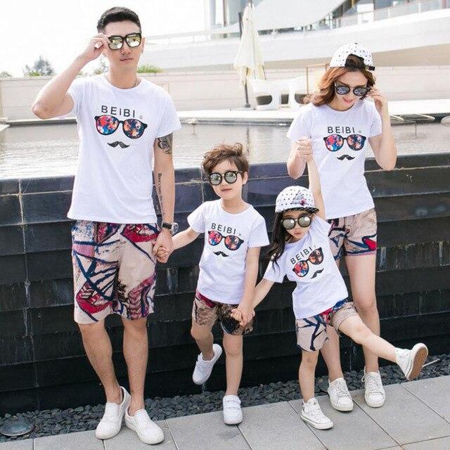 067968691c66b4 Familie Passender Kleidung Sommer Vater und Sohn t-shirt und kurze hosen  Mutter Tochter kleidung