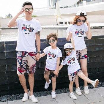 dee69a22b Ropa a juego de la familia camiseta de padre e hijo de verano y pantalones  cortos ropa de madre hija conjunto de ropa de familia conjunto