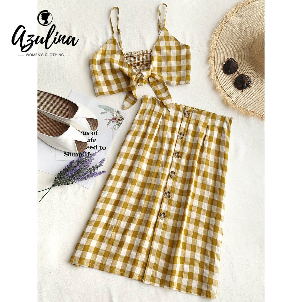AZULINA Checked Crop Cami Top and Skirt Set 2 Pieces Set 2018 Summer Girls Women Spaghetti Straps Cropped Tops High Waist Skirts