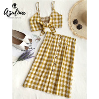 AZULINA Checked Crop Cami Top And Skirt Set 2 Pieces Set 2018 Summer Girls Women Spaghetti
