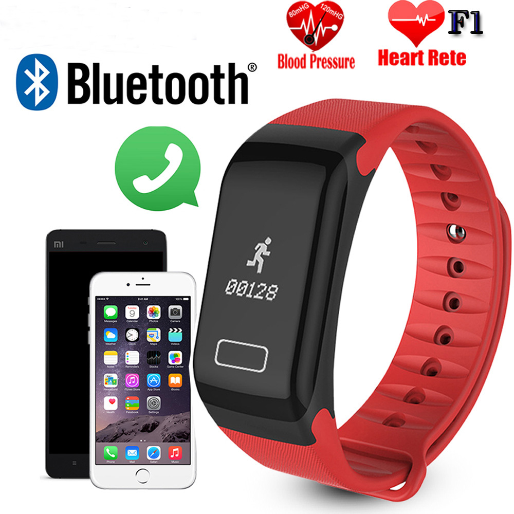 F1 Smartband Health Wrist Watch Call Alarm Vibrating for xiomi Android&ios phone Heart Rate Monitore Smart Wristband Bracelet