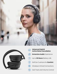 Image 2 - Mpow H12 היברידי פעיל רעש ביטול אוזניות 30 H זמן משחק 40mm נהג אלחוטי Wired 2 ב 1 עבור נסיעות עבודה