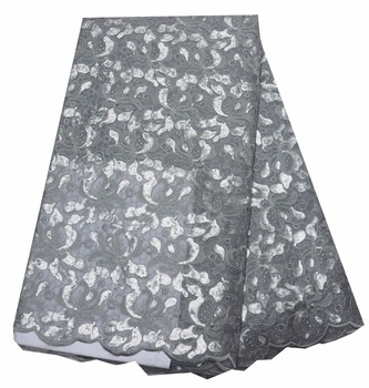 High Quality African Organza Sequin Lace Fabric Hot Sale Nigerian Wedding Dress Double Organza French Net Lace Fabric  P465-4