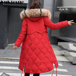 2018 New Winter Jacket Women Faux Fur Hooded Parka Coats Female Long Sleeve Thick Warm Snow Wear Jacket Coat Mujer Quilted Tops 1