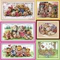 Feliz oso familia el oso de peluche DMC Frabric DIY handwork bordado chino Kit de punto de cruz conjunto de costura de punto de cruz