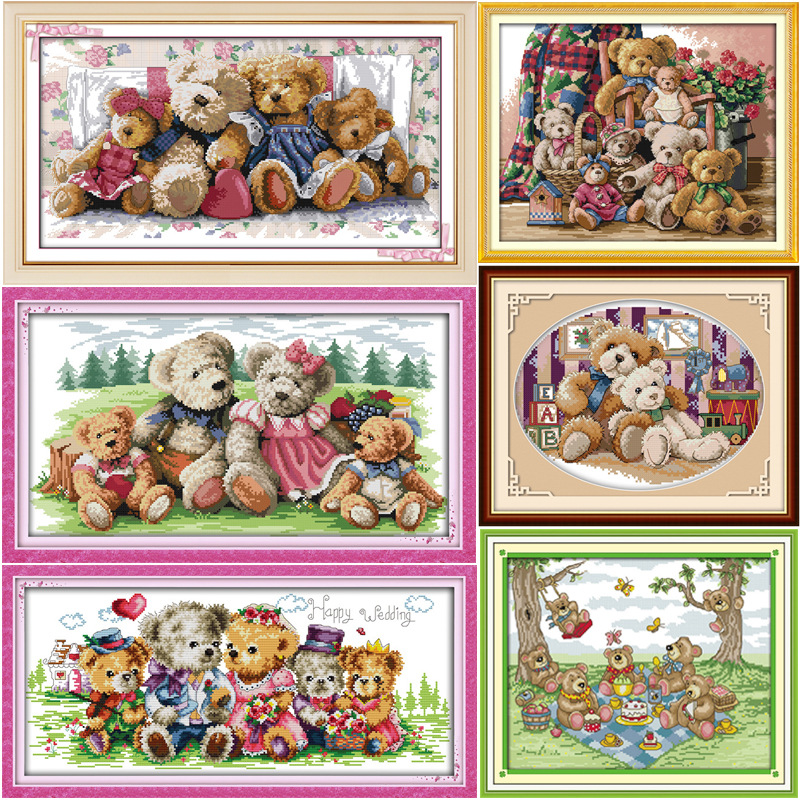 Happy Bear familj nallebjörnen DMC Frabric DIY handarbete Broderi Kinesiska Cross Stitch Kit Crossstitch Set Needlework