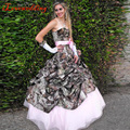 Custom Made Fashion Camouflage Pink Wedding Dresses Ball Gown with Bow Off the Shoulder Women Bridal Gown Plus Size Vestidos h57