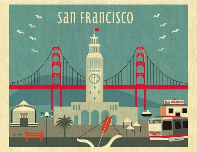 San Francisco Golden Gate Bridge Propaganda Vintage Kraft