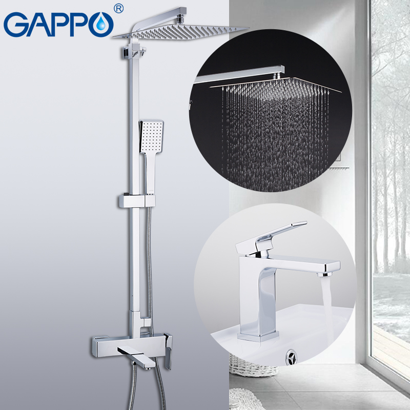 Permalink to GAPPO Sanitary Ware Suite brass tap chrome bathroom bath faucet mixer shower faucet with basin tap robinetterie salle de bain