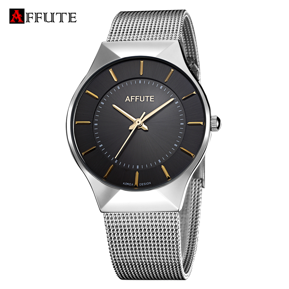 AFFUTE Fashion Casual Men Watches Top Brand Luxury Mesh Stainless Steel Quartz Dress Watch Clock Relogio Masculino Reloj Hombre new relogio masculino gold top luxury brand business casual quartz watch men stainless steel military watches reloj hombre hot