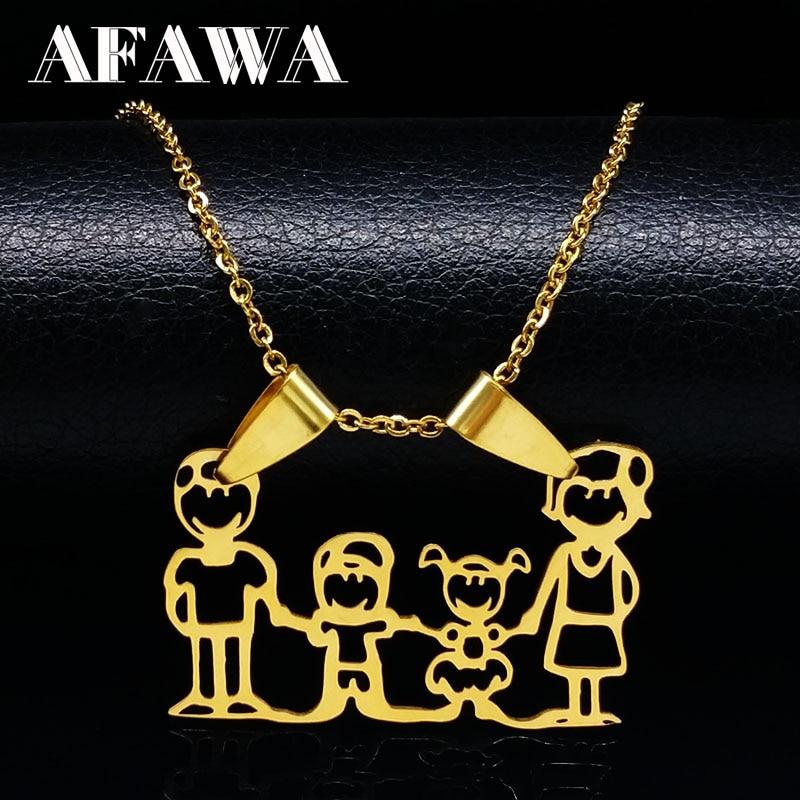 Семейные ожерелья для мальчиков и детей, Женская цепочка золотого цвета, ожерелье из нержавеющей стали, ювелирные изделия, подарок на день м...