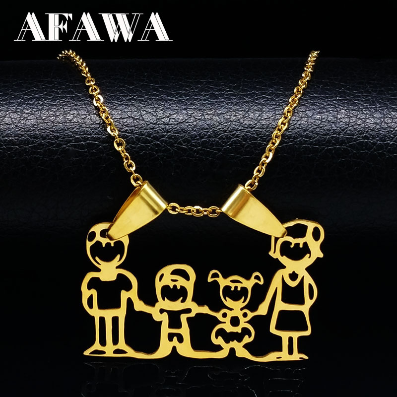 Family Necklaces Boy Kids Women Gold Color Chain Stainless Steel Necklace Jewellery joyas Mother's Day Gift ND310A(China)