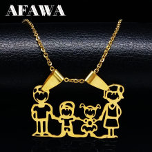 Hot Sale Family Necklaces Boy Kids Women Gold Color Chain Stainless Steel Necklace Jewellery Valentines Day Gift joyas ND310A(China)