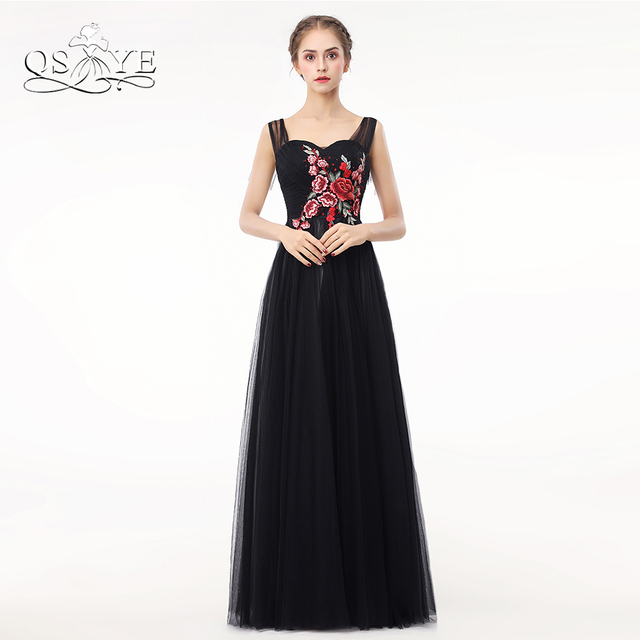 QSYYE New 2018 Black Long Prom Dresses 3D Floral Flower Pleats Tulle ...