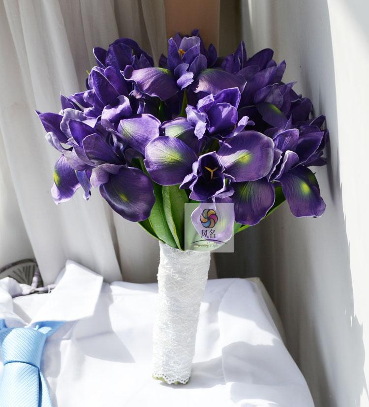 Handmade artificial flower wedding flower iris PU flower-de-luce bride holding flowers