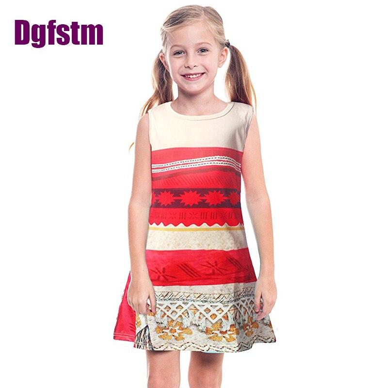 Kids Unicorn Dress Baby Girls moana vaiana dress Costumes Trolls floral full Printing clothing Sleeveless Beach
