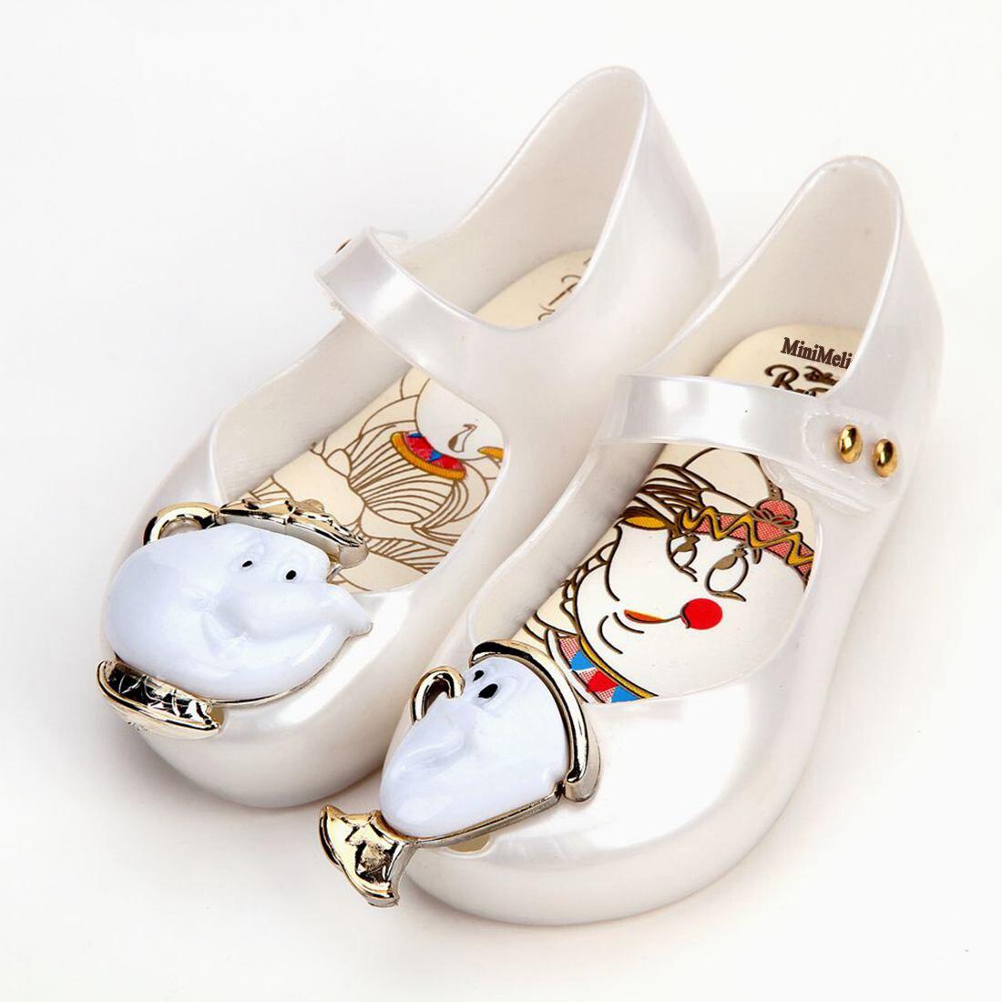 Mini Melissa Teacup Sandals 2018hot New Winter Kids Sandals Beauty Beast Girls Shoe Jelly Sandals Non-slip Kid Shoes
