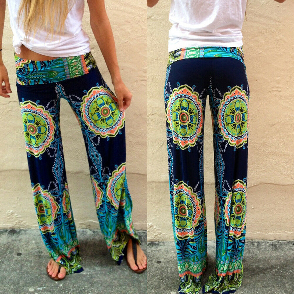 Summer New Fashion Women Floral Loose Boho Bohemia Plus Size Beach   Wide     Leg     Pants   Palazzo Gypsy Style Trousers