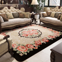 Luxury Rose Pattern European Living Room Big Area Decoration Carpet Rugs for Bedroom Door Mat Coffee Table Carpets Play Mat