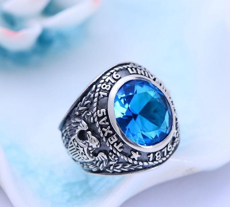 S925 argent pur Thai argent synthétique bleu cristal propagation aigles mâle anneau