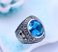 s925 pure silver Thai silver synthetic blue crystal spread eagles male ring