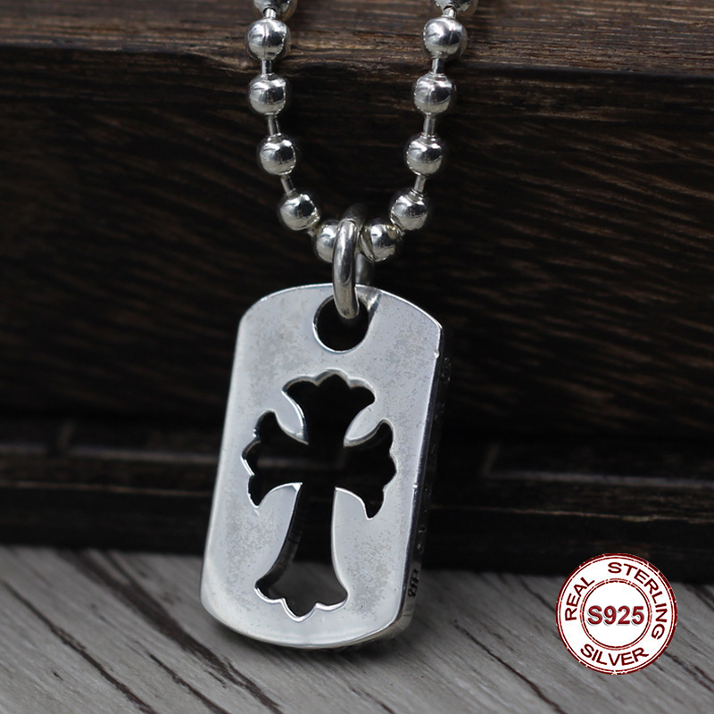 S925 Sterling Silver Men s Pendant Hollow cross font b jewelry b font tag Personality classics